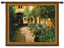 Courtyard Alsace   Woven Tapestry Wall Art Hanging   Rich Shaded Cobblestone Path in European Courtyard   100% Cotton USA Size 53x48 Wall Tapestry