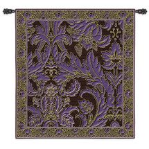 Grapes And Chocolate - Woven Tapestry Wall Art Hanging For Home Living Room & Office Decor - Purple And Chocolate Swirl Motif - 100% Cotton - USA 53X50 Wall Tapestry
