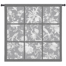 Floral Division Gray | Woven Tapestry Wall Art Hanging | Silhouetted Tropical Birds and Plants Panel Artwork | 100% Cotton USA Size 45x45 Wall Tapestry