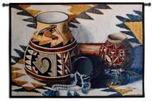 Kokopelli Pot by Judith Durr | Woven Tapestry Wall Art Hanging | Southwestern Pattern Native American Theme | 100% Cotton USA Size 52x35 Wall Tapestry