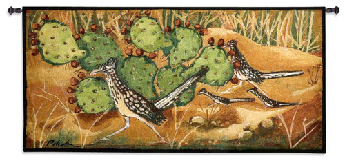 Desert Tracks by Donna Polivka   Woven Tapestry Wall Art Hanging   Earthy Southwest Landscape with Lush Green Cacti   100% Cotton USA Size 53x26 Wall Tapestry