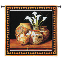 Calla and Canteen by Chuck Sabatino | Woven Tapestry Wall Art Hanging | Southwest Decorative Canteen Jars Floral Still Life | 100% Cotton USA Size 44x44 Wall Tapestry