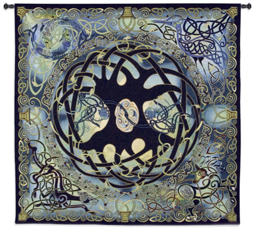 Celtic Tree of Life by Jan Delyth | Woven Tapestry Wall Art Hanging | Spiritual Celtic Pattern | 100% Cotton USA Size 52x51 Wall Tapestry