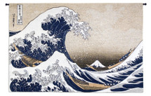 Great Wave At Kanagawa By Katsushika Hokusai - Woven Tapestry Wall Art Hanging - Japanese Art Asian Fishing Boat Tsunami Ocean Sea - 100% Cotton - USA 53X80 Wall Tapestry