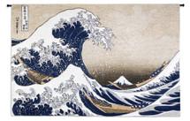 The Great Wave off Kanagawa by Katsushika Hokusai | Woven Tapestry Wall Art Hanging | Japanese Masterpiece of Intense Ocean Scene | 100% Cotton USA Size 80x53 Wall Tapestry