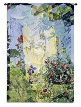 Saint Guadens by Holly Alderman | Woven Tapestry Wall Art Hanging | Contemporary Flower Garden Depiction | 100% Cotton USA Size 52x35 Wall Tapestry