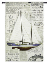 Nautical Motif | Woven Tapestry Wall Art Hanging | Majestic Sailboat with Newspaper Print Background Nautical Art | 100% Cotton USA Size 53x34 Wall Tapestry