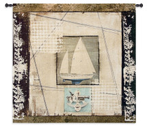 Navigations Zelda | Woven Tapestry Wall Art Hanging | Rustic Nautical Artwork with Sailboat and Sextant | 100% Cotton USA Size 52x52 Wall Tapestry