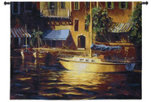 Port of Call | Woven Tapestry Wall Art Hanging | Lush Sunlit Italian Port with Sailboat | 100% Cotton USA Size 53x38 Wall Tapestry