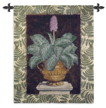 Tropical Urn II | Woven Tapestry Wall Art Hanging | Terracotta Urn Still Life on Stone Column | 100% Cotton USA Size 53x42 Wall Tapestry