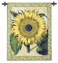 Flos Solis Major   Woven Tapestry Wall Art Hanging   Detailed Vivid Yellow Sunflower with Vine Border   100% Cotton USA Size 53x40 Wall Tapestry