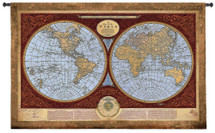 Map of The World - Woven Tapestry Wall Art Hanging for Home & Office Decor - Traditional Geographical World Atas Rich Earthy Tones Detailed  for Library Den Decor - 100% Cotton - USA 36X53 Wall Tapestry