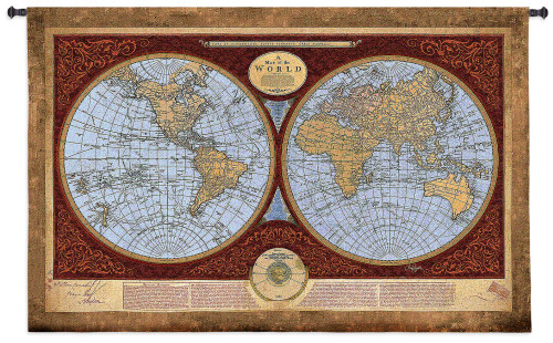 Map of the World | Woven Tapestry Wall Art Hanging | Traditional World Map Cartography Library Decor | 100% Cotton USA Size 76x53 Wall Tapestry