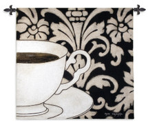 Damask Coffee Black by Gosia Gajewska | Woven Tapestry Wall Art Hanging | Cup and Plate with Bold Floral Pattern Background | 100% Cotton USA Size 45x43 Wall Tapestry