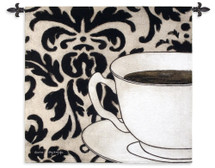 Damask Coffee White by Gosia Gajewska | Woven Tapestry Wall Art Hanging | Cup and Plate with Bold Floral Pattern Background | 100% Cotton USA Size 45x43 Wall Tapestry