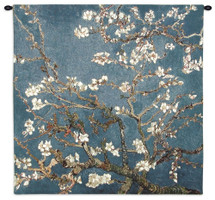 Blossoming Almond Tree by Vincent van Gogh | Woven Tapestry Wall Art Hanging | Contrasting Scenery with White Flowers | 100% Cotton USA Size 35x35 Wall Tapestry
