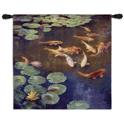 Inclinations by Curt Walters   Woven Tapestry Wall Art Hanging   Tranquil Koi Fish in Water Lily Pond   100% Cotton USA Size 45x44 Wall Tapestry