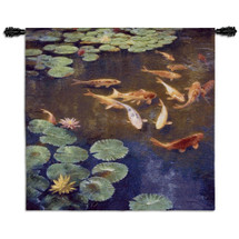 Inclinations by Curt Walters | Woven Tapestry Wall Art Hanging | Tranquil Koi Fish in Water Lily Pond | 100% Cotton USA Size 45x44 Wall Tapestry