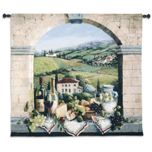 Vino de Tuscany by Barbara R. Felisky | Woven Tapestry Wall Art Hanging | Tuscan Villa Arch Wine and Grape Still Life | 100% Cotton USA Size 52x44 Wall Tapestry