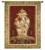 Romantic Urn II | Woven Tapestry Wall Art Hanging | Asian Inspired Floral Vase Still Life | 100% Cotton USA Size 44x34 Wall Tapestry