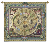 Copernican System   Woven Tapestry Wall Art Hanging   Vintage Celestial Solar System Diagram with Astrological Imagery   100% Cotton USA Size 57x52 Wall Tapestry