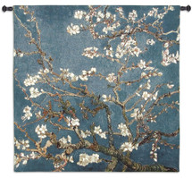 Blossoming Almond Tree by Vincent van Gogh | Woven Tapestry Wall Art Hanging | Contrasting Scenery with White Flowers | 100% Cotton USA Size 51x51 Wall Tapestry