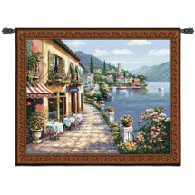 Overlook Cafe I by Sung Kim | Woven Tapestry Wall Art Hanging | Classic Mediterranean Village Coastal Cobblestone Walkway | 100% Cotton USA Size 53x44 Wall Tapestry