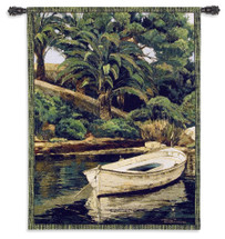 Barca y Palmeras | Woven Tapestry Wall Art Hanging | Lush Tropical Shore with Docked Rowboat | 100% Cotton USA Size 52x40 Wall Tapestry