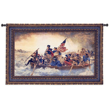 Washington Crossing Delaware by Emanuel Leutze - Woven Tapestry Wall Art Hanging for Home & Office Decor-George Washington American Revolutionary War Battle of Trenton - Cotton -USA 32X53 Wall Tapestry