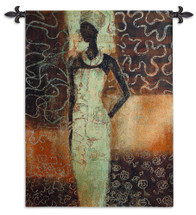Radiance II by Gosia Gajewska | Woven Tapestry Wall Art Hanging | Elegant Posing African Woman in Warm Earthy Tones | 100% Cotton USA Size 52x39 Wall Tapestry