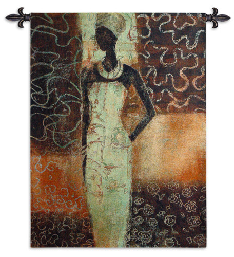 Radiance Ii By Gosia Gajewska - Woven Tapestry Wall Art Hanging - African Cultural Woman Pose Earthy Tones Africa Ethnic Art - 100% Cotton - USA 52X39 Wall Tapestry