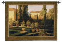 Verona Garden | Woven Tapestry Wall Art Hanging | Impressionist Villa Courtyard at Sunset | 100% Cotton USA Size 53x38 Wall Tapestry