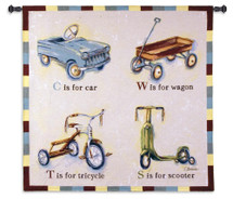 Car Wagon Tricycle Scooter | Woven Tapestry Wall Art Hanging | Playful Children's Vehicles Spelling Artwork | 100% Cotton USA Size 44x43 Wall Tapestry