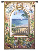 Wish You Were Here | Woven Tapestry Wall Art Hanging | Ocean Shore Balcony with Lush Tropical Imagery | 100% Cotton USA Size 80x53 Wall Tapestry