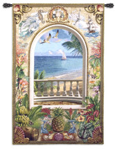 Wish You Were Here | Woven Tapestry Wall Art Hanging | Ocean Shore Balcony with Lush Tropical Imagery | 100% Cotton USA Size 59x40 Wall Tapestry