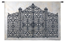 Louis XV Gate | Woven Tapestry Wall Art Hanging | Ornate Spiraling Wrought Iron Gate | 100% Cotton USA Size 53x79 Wall Tapestry