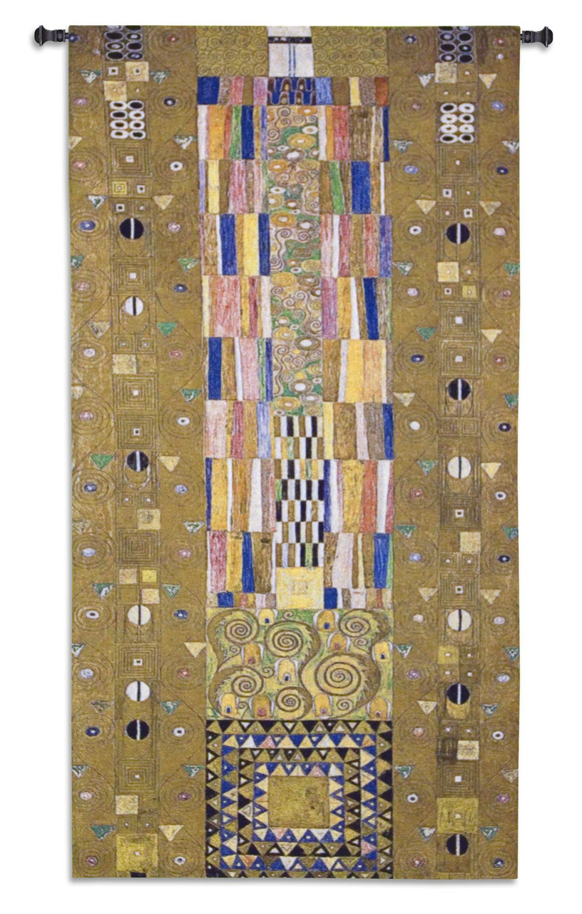 Stoclet Frieze Knight By Gustav Klimt Stoclet Frieze Series Geometric Shapes Lush Color Palette Masterpiece Woven Tapestry Wall Art Hanging 100
