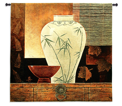 Dynasty I by Keith Mallett | Woven Tapestry Wall Art Hanging | Contemporary Eastern Decorative Vase Still Life | 100% Cotton USA Size 44x42 Wall Tapestry