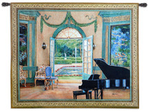 The Music Room Monet by Foxwell | Woven Tapestry Wall Art Hanging | Grand Piano Music Room by Courtyard | 100% Cotton USA Size 64x52 Wall Tapestry