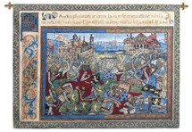 Epic | Woven Tapestry Wall Art Hanging | Knights Battling at Medieval Castle Historic Artwork | 100% Cotton USA Size 69x52 Wall Tapestry