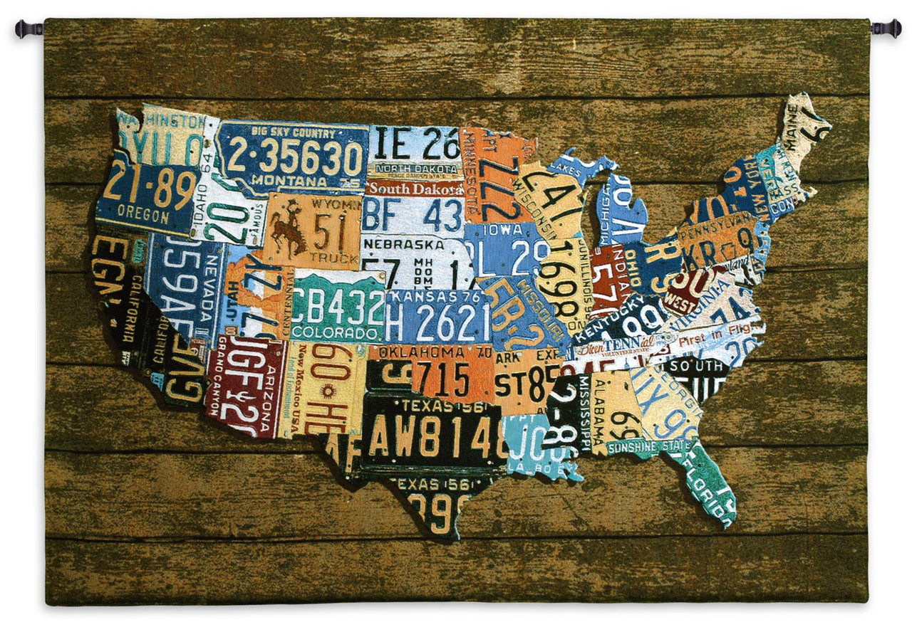 Usa Tags Wood Background By Aaron Foster Woven Tapestry Wall Art Hanging Vintage License Plate Usa Map 100 Cotton Usa Size 52x37