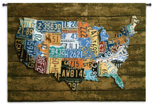 USA Tags Wood Background by Aaron Foster | Woven Tapestry Wall Art Hanging | Vintage License Plate USA Map | 100% Cotton USA Size 52x37 Wall Tapestry