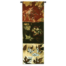 Autumn Leaves II | Woven Tapestry Wall Art Hanging | Warm Contemporary Fall Panels | 100% Cotton USA Size 51x17 Wall Tapestry