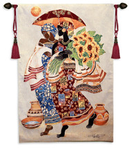 Sunflowers and Umbrella by Keith Mallett | Woven Tapestry Wall Art Hanging | Classy African Women Strolling in Elaborate Fashion | 100% Cotton USA Size 52x37 Wall Tapestry