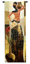Bahiya by Keith Mallett | Woven Tapestry Wall Art Hanging | Statuesque Woman With Pots African Style | 100% Cotton USA Size 73x26 Wall Tapestry