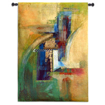 Conjugal Love by Asha Menghrajani | Woven Tapestry Wall Art Hanging | Broad Brush Colorful Abstract Artwork | 100% Cotton USA Size 52x37 Wall Tapestry