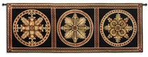 Rosette Foursome by Lee Anderson | Woven Tapestry Wall Art Hanging | Earthy Floral Rosette Designs Panel Artwork | 100% Cotton USA Size 67x26 Wall Tapestry