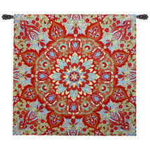 Rangoli Sunrise - Woven Tapestry Wall Art Hanging For Home Living Room & Office Decor - Kolam Muggu India Folk Design With Decorative Kaleidoscope Medallion Patterns - 100% Cotton - USA 52X51 Wall Tapestry