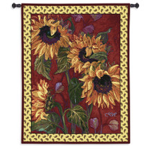 French Sunflower II | Woven Tapestry Wall Art Hanging | Warm Fiery Sunflower Painting | 100% Cotton USA Size 51x42 Wall Tapestry