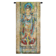 Lotus II | Woven Tapestry Wall Art Hanging | Radiant Asian Goddess on Textured Worn Scroll | 100% Cotton USA Size 50x24 Wall Tapestry
